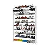 Nakey 10 Schichte Schuhregal Schuhablage Schuhständer, Ständer Regale für 50 Paare Schuhe, L92 x W17 x H138cm, Metall, Weiß