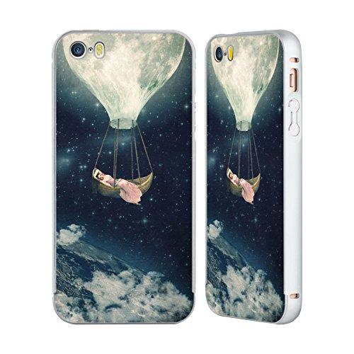Ufficiale Paula Belle Flores Una Notte A Parigi Luna Argento Cover Contorno con Bumper in Alluminio per Apple iPhone 5 / 5s / SE Carries Me Away