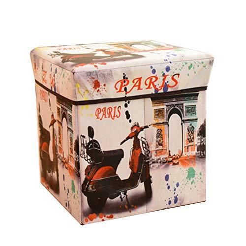 Love House Plegable Taburete de Almacenamiento Cubo con Tapa, Impreso