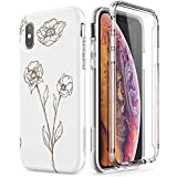 SURITCH Coque iPhone X/XS Silicone 360 Degrés Integrale Fleur Motif Souple Antichoc...