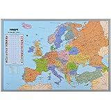 Pinnwand Europakarte Kork - XXL Memotafel - inklusive 12 Markierfähnchen - 90 x 60 cm
