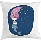 XLABDZ Throw Pillowcase Pillow Cover Mermaid Cushion, I Love Sea Theme Fantastic Cartoon Girl with Long Pink Hair Stars and Moon, Decorative Square Accent Case, 18 X 18 inches, Blue Pink Yellow