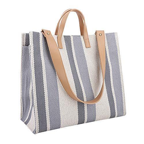Luxspire Stripe Canvas Tote Bag, Ladies Daily Casual Handbag Single Shoulder Bag, Bice -