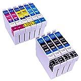 ESMOnline 10 komp. XL Druckerpatronen als Ersatz für Epson T1621 T1631 T1622 T1632 T1623 T1633 T1624 T1634 T1626 T1636 (Schwarz Blau Rot Gelb)