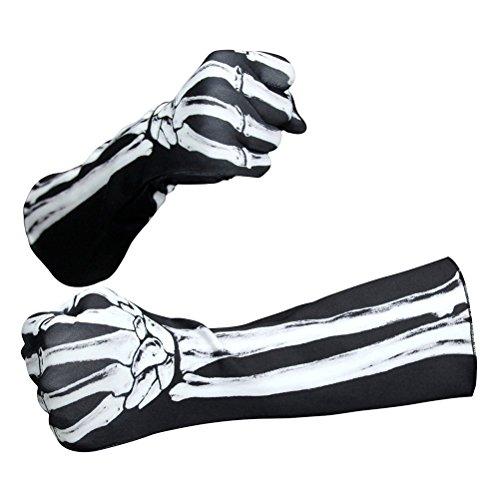 Amosfun Halloween Skelett Handschuhe Vollfinger Handschuhe Kostüm Cosplay Partei Halloween Kostüme
