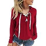 Xinan Damen Sweatshirt Kapuzenpullover Damen Locker Langarm Hoodie Jacke Bluse Top (L, ☆Rot)