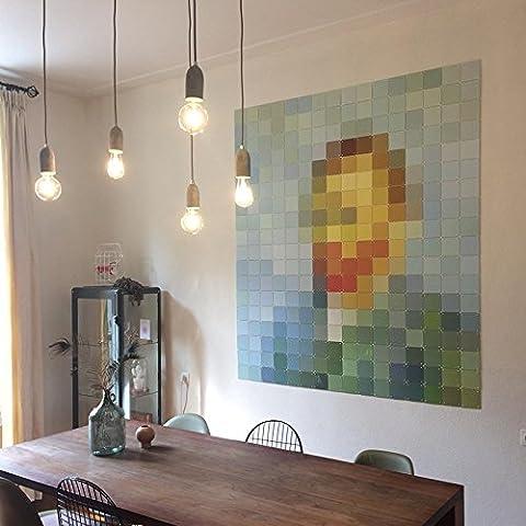 QAZQA Modern Esstisch / Esszimmer / Puristische Pendelleuchte / Pendellampe / Hängelampe / Lampe / Leuchte Cava 5-flammig beton / Innenbeleuchtung / Wohnzimmer / Schlafzimmer / Küche Stein / Rund LED