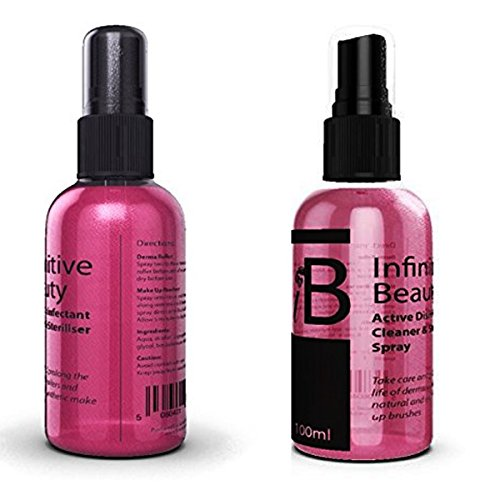Infinitive Beauty Active Disinfectant Cleaner & Sterliser Spray For Derma Rollers & Make Up Brushes- Cosmetic Brush Cleaner Removes Make Up From Brushes- Take Care & Prolong The Life Of Derma Rollers & Natural & Synthetic Brushes- Easy Spray On Use- 50ml