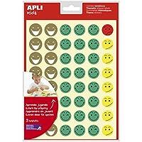 APLI Kids - Bolsa de gomets cara feliz, 3 hojas adhesivo removible