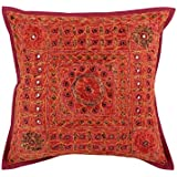 Decoración casera moderna cojines 40x40 India étnicas Diseñador Almohada Shams solo indio Cojín de algodón bordado floral rojo protectores por Rajrang