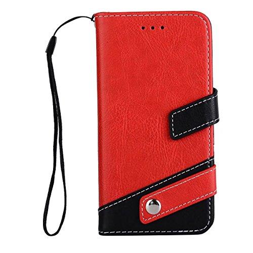 JIALUN-étui pour téléphone Case Litchi Texture Housse en cuir en cuir doublé à deux couleurs avec bouton à cordon et rivet pour iPhone 7 ( Color : Black ) Red