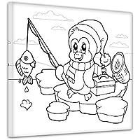 Kinderbild fischender Pinguin Leinwandbild