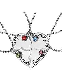702fd1913ba9 EQLEF® 4 Collar de la amistad de la plata de la aleación de PCS -
