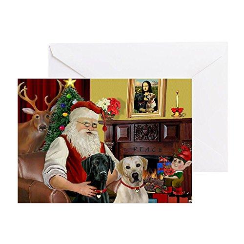 CafePress Grußkarte, Geburtstagskarte, Motiv Weihnachtsmann 2 Labs (Y+B) -