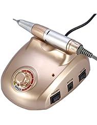 25.000 RPM Électrique Appareil de Manucure Pédicure Professionnel Ponceuse à Ongles 6 Embouts de Ponçage avec Protection Thermique (Or)