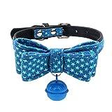 jianchangsheng Hundehalsband, Stern, Schleife, Glöckchenanhänger für Welpen, Hundehalsband, verstellbar