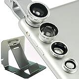 First2savvv JTSJ-4N1-A16G3 Silber Handy Universal 4 in 1 Clip Kamera Profiklasse Lens Kit (Fischauge, Weitwinkel, Makro-Objektiv und Barlow) für Samsung Galaxy Note Edge Note 4 Note 3 Note 2 S5 mini S5 ALPHA K zoom S4 S4 mini A3 A5 CORE Max LG OPTIMUS L5 ii E460 L7 II P710 G2 D802 Nexus 5 D821 G-Flex D955 L40 D160 G PRO 2 G2 MINI D620 G3 D855 G3 S D722 L20 D100 L30 D120 L50 D213 L70 D320 L90 D405 F60 D390N Flex 2 H955 G4 G2 mit mini stehen