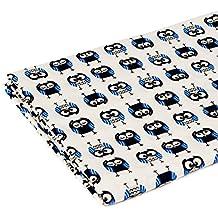 Tejido de jersey estampado por metros |Diseño: Búhos azul|200cm x 160cm|92% algodón, 8% elastán|Varios diseños para elegir|Jersey|1buy3