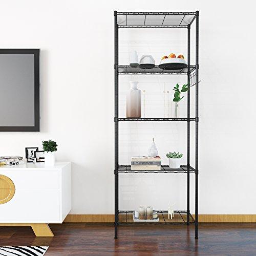 Homdox Regal Standregal Metallregal mit 5 Regalböden für Garage, Küchen, Organisation L54 x W29 x H150cm, Schwarz (Schwarz, 5 Ablage)