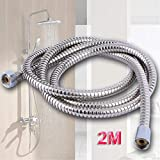 2,5Meter Edelstahl Chrom Flexible Badezimmer Bad Duschkopf Brauseschlauch Rohr Unterlegscheiben