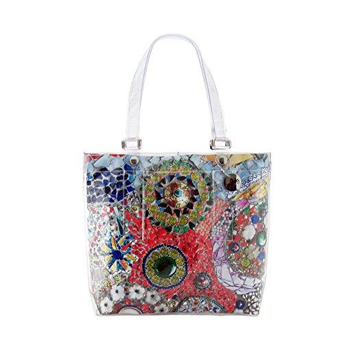 """BI-BAG borsa donna modello EASY """"SUMMER COLLECTION"""" + pochette Multicolore Base Rossa"""