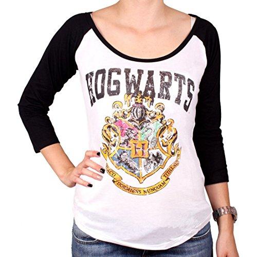 Harry Potter Damen Longsleeve Hogwarts Wappen Distressed weiß schwarz - M