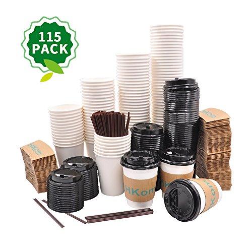 HKom Set aus 115 Papier-Kaffeetassen, 350 ml, Deckel, Ärmel und Rührstäbchen, Einweg-Pappbecher, für Kaffeetassen, Tee, heiße Kokos und Schokolade - Weiße Kokos-tee