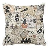 RWINDG Happy Halloween Pillow Cases Linen Sofa Cushion Cover Home Decor Bettwäsche Kopfkissen-Bezüge Kissenhüllen Kissenbezug Kissen Sofakissen Bett Deko Weiß Baumwolle