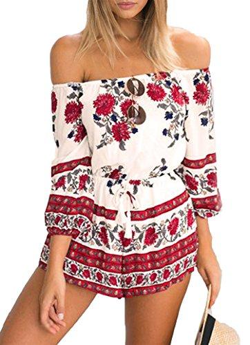 Sexy Damen Playsuit mit sommerlichem Blumendruck