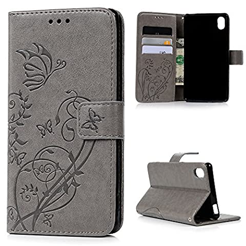 Coque Sony Xperia M4 Aqua, Badalink Housse Étui Case de Protection en PU Cuir Flip Cover Bookstyle Support Fermeture Aimantée Portefeuille Cartes Slots Coloré Motif Papillon