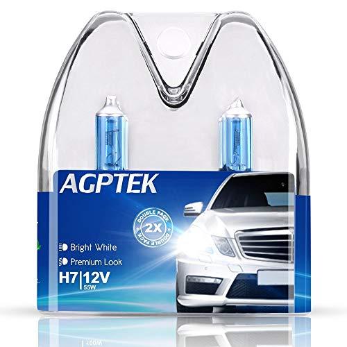 AGPTEK 2 Lampadine H7 per fari Anteriori sia per Auto che Moto 12 V / 55 W , 5000 K, Bianco