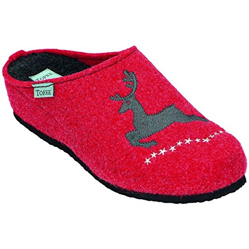 Tofee porosohle naturwollfilz, chaussons pour femme Rouge - Rouge