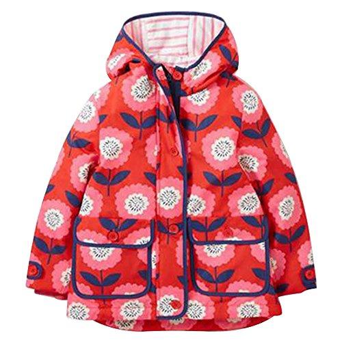 BOZEVON Little Girls' Waterproof Hooded Coat Jacket Outwear Raincoat