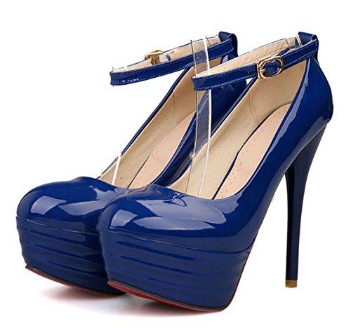 OALEEN - Escarpins Vernis à Bride Cheville Talon Haut Aiguille Plateforme Femme Bleue Marine