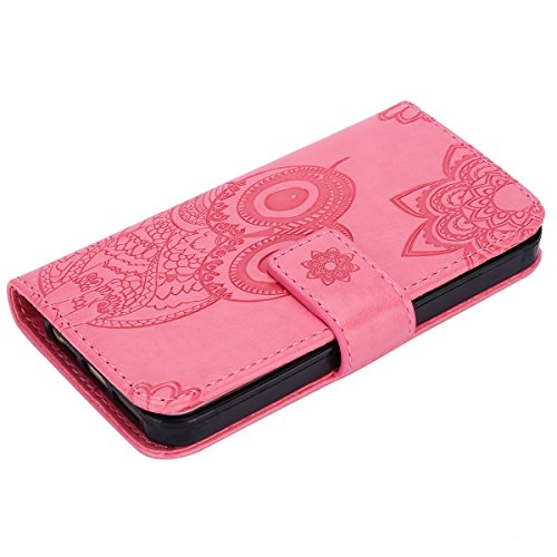 Custodia iPhone 5S,Custodia iPhone 5,Custodia iPhone SE,ikasus® iPhone 5S 5 & iPhone SE Custodia Cover [PU Leather] [Shock-Absorption] Protettiva Portafoglio Cover Custodia 3D rilievo Embossed rilievo Rosa