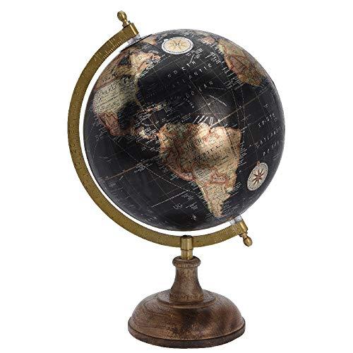 Globus mit Holzfuß, 20 x 33 cm, schwarz metallic