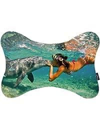 i FaMuRay Dog Bone Shape Almohada De Cuello Bikini Dolphin Females Pattern
