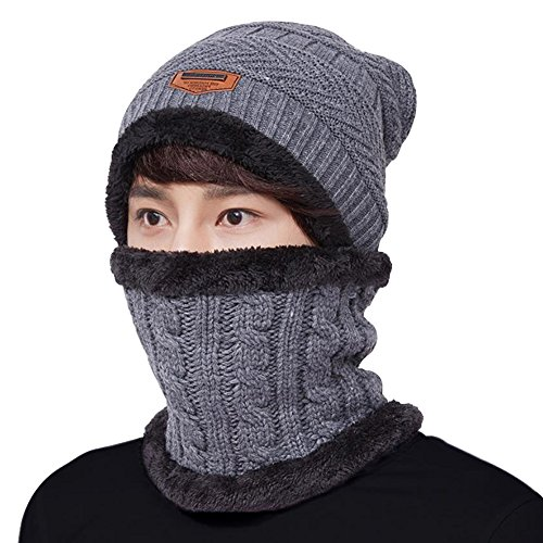LvLoFit Winter Thermal Knitted Heanie Hat and Circle Scarf Set for Women/Men Warm Snood Suit for Indoors and Outdoor Sports (Grey)