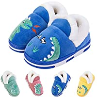 Coralup Little Kids Cute Dinosaur Winter Slippers Toddler Soft Plush Shoe Baby Boys Girls Warm House Shoes Blue Size UK 4.5-11.5 Kids