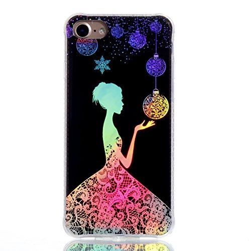 Apple iPhone 8 4.7 Hülle, Voguecase Schutzhülle / Case / Cover / Hülle / Plating TPU Gel Skin (Transparente-Rot Blume/Schmetterling 10) + Gratis Universal Eingabestift Schwarz-Lady 14