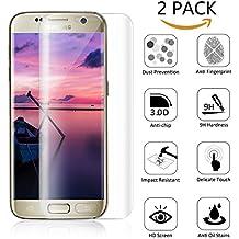 Galaxy S7 edge Protector de Pantalla, Fuleadture [2-Unidades] protector cristal vidrio templado Alta Definicion(HD) 9H Dureza Cristal Templado Anti-rotura de Pantalla, Anti-arañazos para Samsung Galaxy S7 Edge