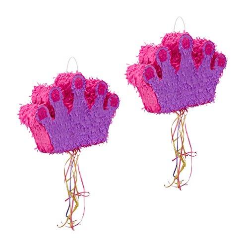 Relaxdays Pinata Krone, Zum Aufhängen, Kinder, Mädchen, Geburtstag, Befüllen, Zugpinata, HBT: 31 x 49 x 10 cm, Lila-Pink (2er Set)