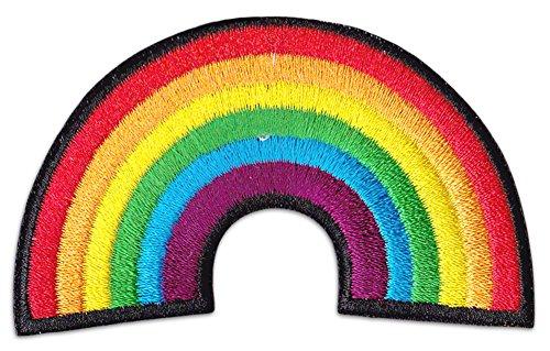 Regenbogen Symbol Aufnäher Aufbügler Patch GLF Hippie Mädchen Party Festival (Klein)