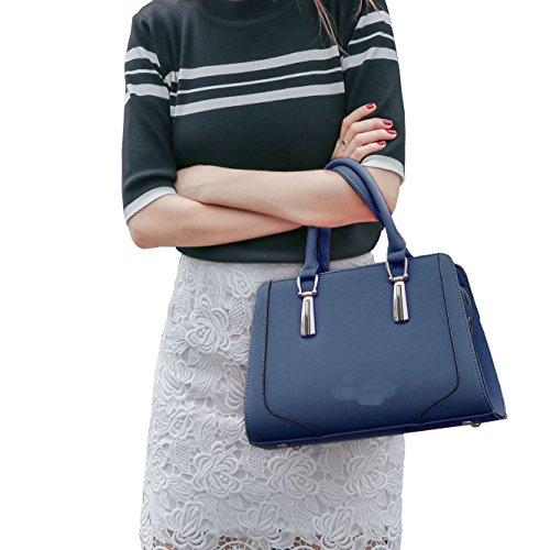 DISSA S848 neuer Stil PU Leder Deman 2018 Mode Schultertaschen handtaschen Henkeltaschen,300×130×205(mm) Blau
