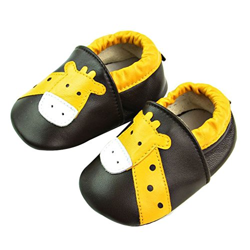 Tongchou Weiches Leder Babyschuhe Lauflernschuhe Krabbelschuhe Madchen Junge Unisex Braune Giraffe 6-12 Monate (Braune Schuhe Jungen)