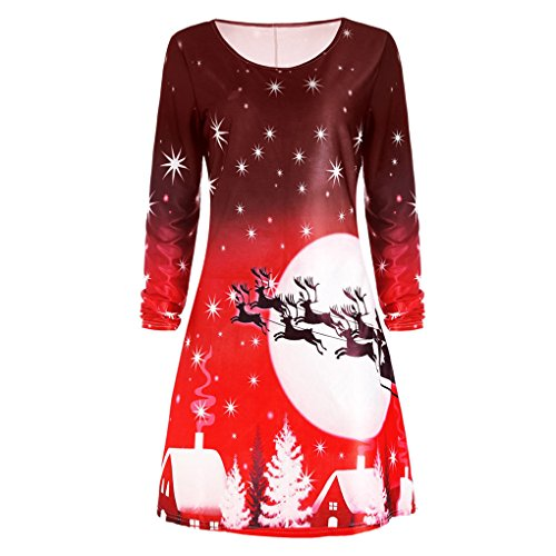 Weihnachtskostüm Weihnachtsfrauen WeihnachtskleidFrauenkleidung ❀❀ JYJMFrauen Weihnachten Print Langarm Kleid Damen Abend Party Knielangen Kleid (3XL, Rot)