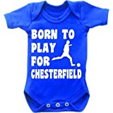 Born to play Football für Chesterfield kurzärmligen Baby Body Strampler Weste Grow In Royal blau & weiß Motiv blau königsblau 6-12 Monate