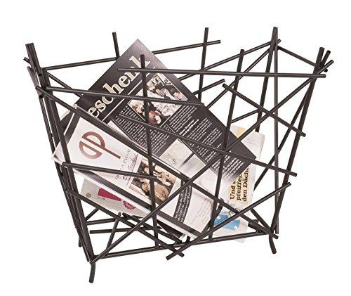4er Set Zeitungsständer aus anthrazitfarbenem Metall; Maße (B/T/H) in cm: 47 x 20 x 39