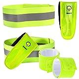 COM-FOUR® 6-teiliges Reflektorband Set mit LED Sicherheitsclip mit Klettverschluss, Schnapparmbändern und dehnbarem Reflektorband