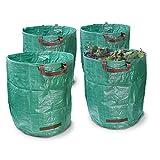 ECD Germany 4-er Set Witterungsbeständiger Gartensack 270L 67 x 76cm bis 50 kg belastbar aus robusten Polyethylen-Gewebe Faltbar Laubsack Rasensack Abfallsack